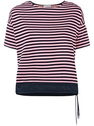 Moncler Drawstring Hem Striped T Shirt Pink Purple