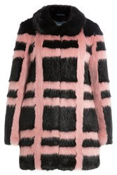 Shrimps Plaid Faux Fur Coat Stripes
