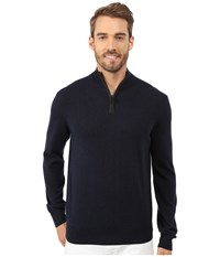 Perry Ellis Solid Quarter Zip Sweater Dark Sapphire Men's Sweater Blue