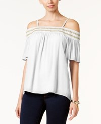 Thalia Sodi Crochet Trim Off The Shoulder Top Only At Macy's Bright White