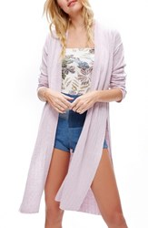 Free People Women's Ribby Long Cardigan Lavender