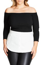 City Chic Plus Size Women's Layer Look Off The Shoulder Top