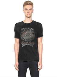 Matchless London Slim Fit Vintage Printed Cotton T Shirt
