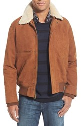 Men's Billy Reid 'Theo Flyer' Suede Jacket With Genuine Shearling Collar