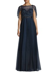 Basix Black Label Beaded Capelet Gown Navy