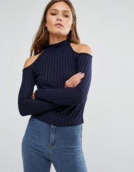 New Look Knitted Rib Cold Shoulder Jumper Navy