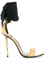 Tom Ford Ankle Tie Open Toe Sandals Leather Polyester Metallic