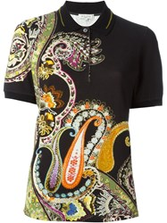 Etro Paisley Print Polo Shirt Black