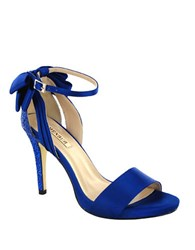 Menbur Clarin Back Bow Satin Ankle Strap Sandals Dazzling Blue