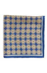Men's Robert Talbott Medallion Silk Pocket Square Blue Navy