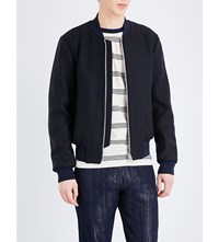 Paul Smith Ps By Contrast Trim Wool Blend Bomber Jacket Navy