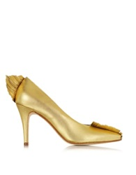 Zoe Lee Ama Two Tone Metallic Leather Pump Gold