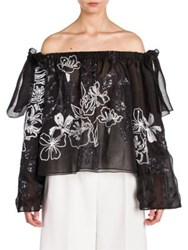 Fendi Off The Shoulder Sequin Embroidered Organza Blouse
