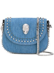 Philipp Plein Colorado City Shoulder Bag Women Cotton Leather Polyester One Size Blue
