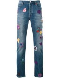 Paul Smith London Embroidered Patch Straight Jeans Men Cotton Polyester Spandex Elastane 30 Blue