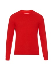 Maison Martin Margiela Leather Elbow Patch Crew Neck Sweater