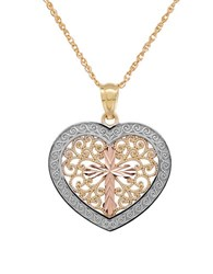 Lord And Taylor 14K Gold Filigree Heart Pendant Necklace Yellow Gold