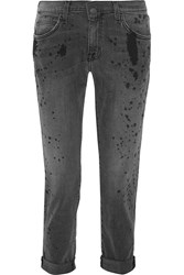 Current Elliott The Fling Paint Splattered Mid Rise Boyfriend Jeans Gray