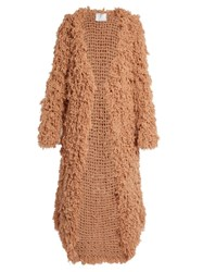 Ryan Roche Open Front Looped Cashmere Cardigan Light Pink