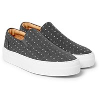 Wooster Lardini Polka Dot Canvas Slip On Sneakers Gray
