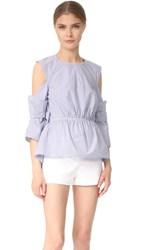 3.1 Phillip Lim Cold Shoulder Shirt With Scallop Trim Blue White Navy White