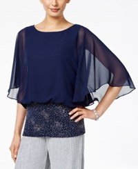 Msk Embellished Angel Sleeve Blouse Navy