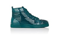 Christian Louboutin Men's Louis Orlato Flat Patent Leather Sneakers Blue