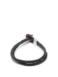 Paul Smith Double Wrap Leather Bracelet Black