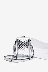 Nasty Gal Over 'N Out Vegan Leather Trunk Bag Silver