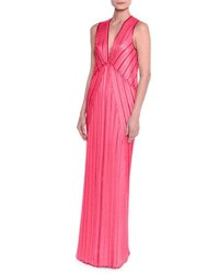 Missoni Sleeveless V Neck Pleated Knit Gown Fuchsia Fuschia