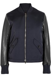 Tim Coppens Lace Up Leather And Twill Bomber Jacket Midnight Blue