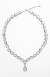 Nadri Cubic Zirconia And Crystal Pear Drop Necklace Rhodium