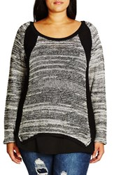 City Chic Plus Size Women's 'S And P' Sweater Ivory