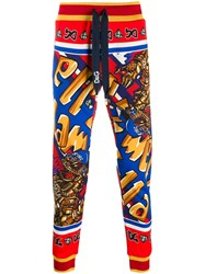 Dolce And Gabbana Superhero King Print Track Pants Red