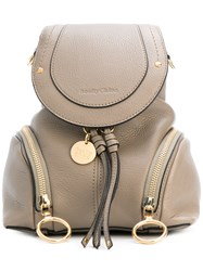 See By Chloe Double Zip Mini Backpack Women Leather One Size Grey