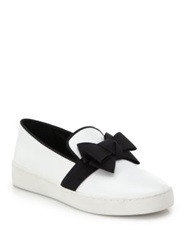 Michael Kors Val Bow Patent Leather Skate Sneakers Optic White