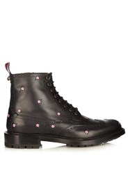 Gucci Lace Up Floral Embroidered Leather Brogue Boots Black Multi