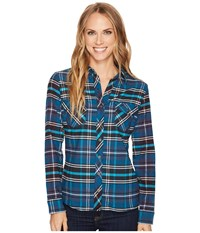 Kuhl Greta Flannel Shirt Marine Women's Long Sleeve Button Up Blue
