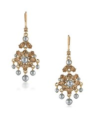 Carolee 12K Goldplated 5Mm Faux Pearl Mini Chandelier Earrings