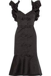Johanna Ortiz Coconut Bow Embellished Stretch Cotton Sateen Dress Black
