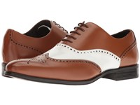 Stacy Adams Stockwell Wingtip Oxford Cognac White Men's Lace Up Wing Tip Shoes Tan