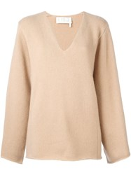 Chloe Split Neck Jumper Nude Neutrals