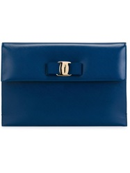 Salvatore Ferragamo 'Vara' Flap Clutch Blue