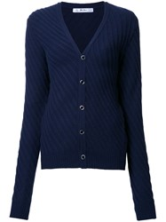 Julien David V Neck Cardigan Blue