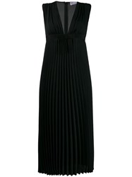 Red Valentino Pleated Midi Dress Black