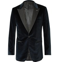 Dunhill Midnight Blue Slim Fit Faille Trimmed Cotton Blend Velvet Tuxedo Jacket Blue