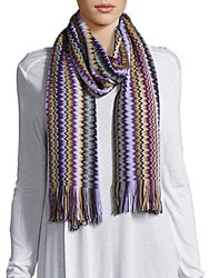Missoni Fringed Chevron Scarf Purple