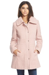 Jessica Simpson Basket Weave Fit And Flare Coat Rose