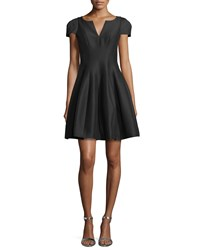 Halston Heritage Tulip Skirt Split Neck Dress Black Women's Size 14