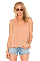 Enza Costa Peasant Voile Ruffle Neck Henley Tank Rust